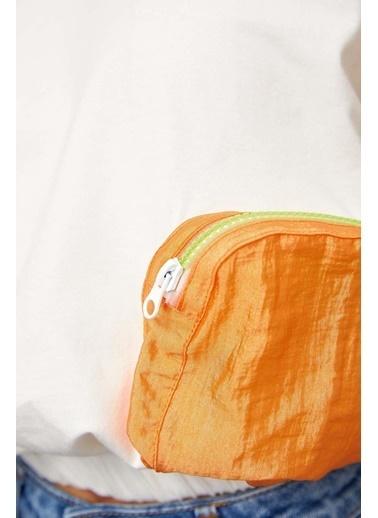 Setre Ekru-Atlantis Bisiklet Yaka Cepli T-Shirt Oranj